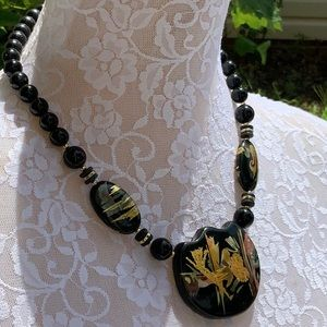 Jewelry - Black Painted Necklace Marked Japan